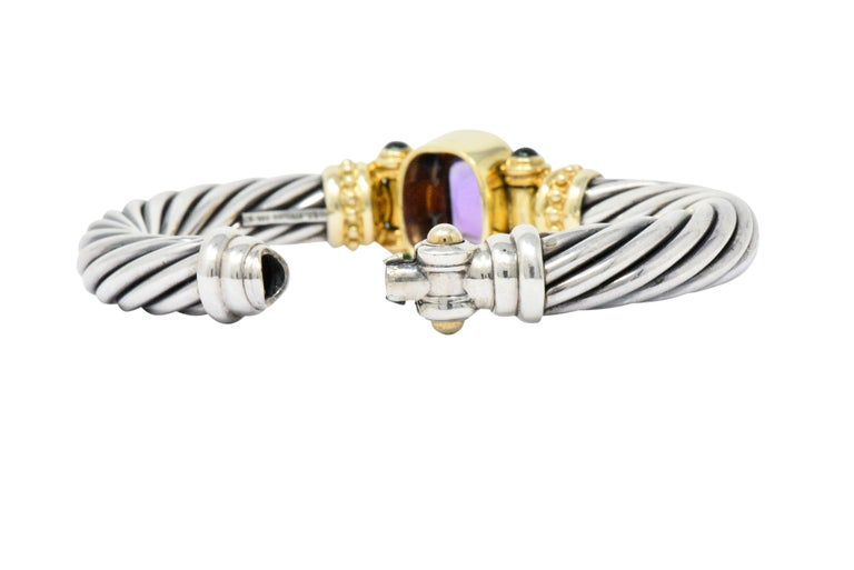 David Yurman Amethyst Green Onyx Sterling Silver 14 Karat Gold Cable Bracelet In Excellent Condition In Philadelphia, PA