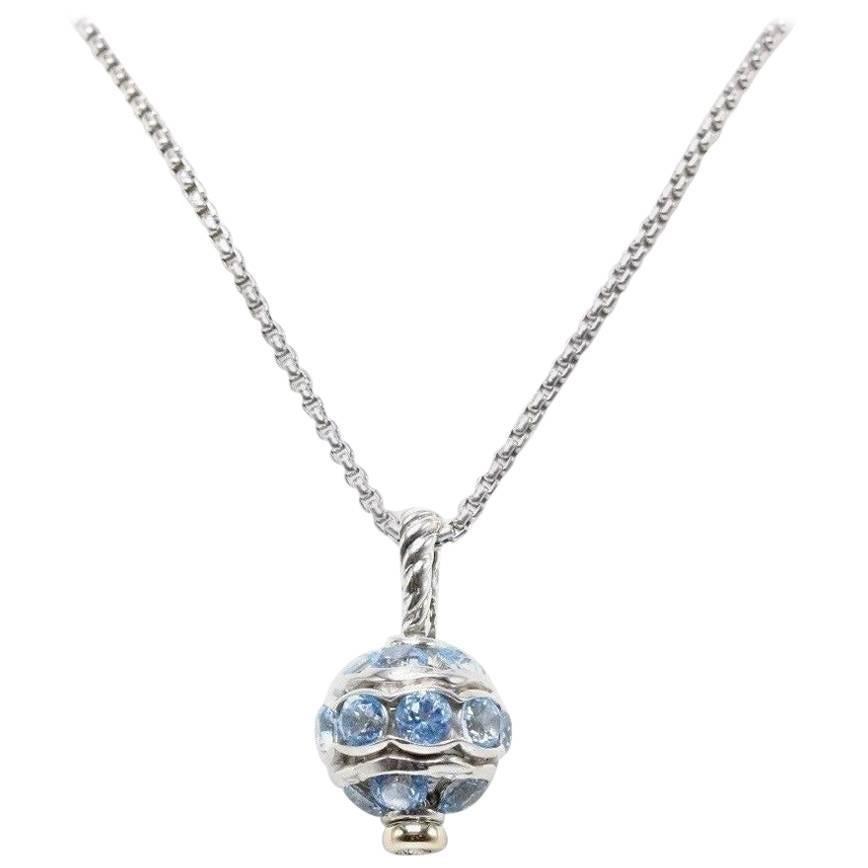 David Yurman Aquamarine Jewels Bead Ball Pendant Necklace SS & 18k YG