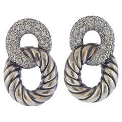 David Yurman Belmont Sterling Silver Diamond Link Chain Earrings