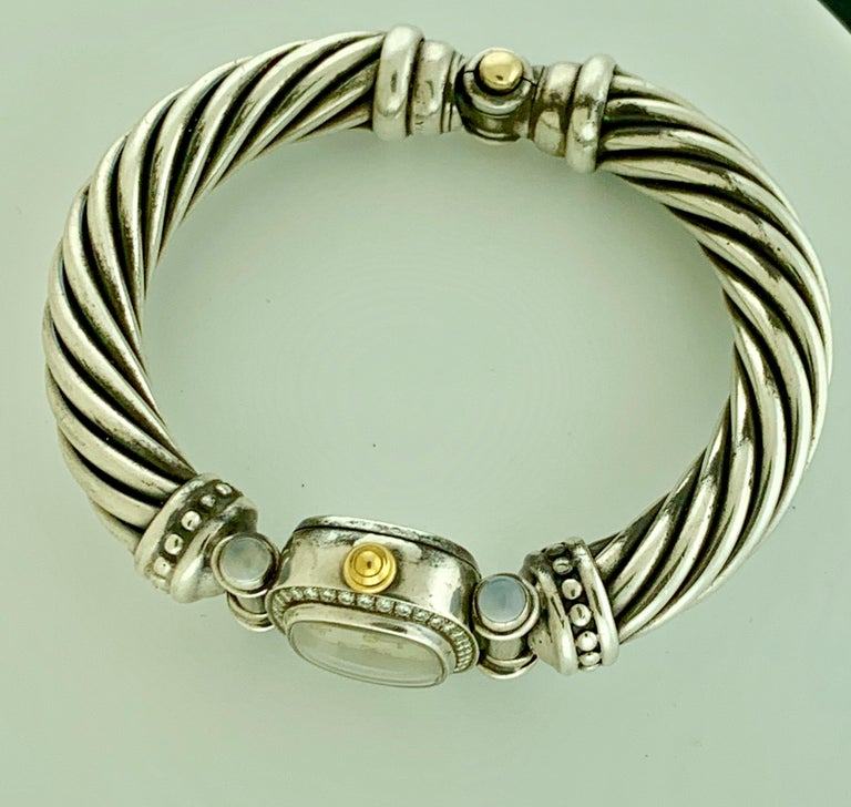 David Yurman Bezel Diamond Watch Cable Bracelet Sterling Silver 14 Karat Gold In Excellent Condition In Scarsdale, NY