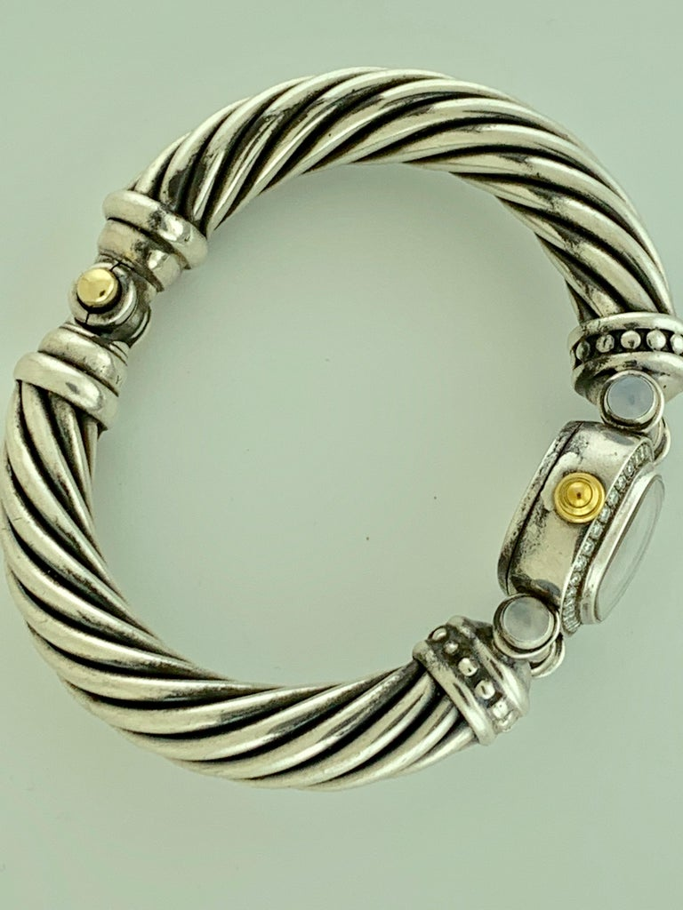 Women's David Yurman Bezel Diamond Watch Cable Bracelet Sterling Silver 14 Karat Gold