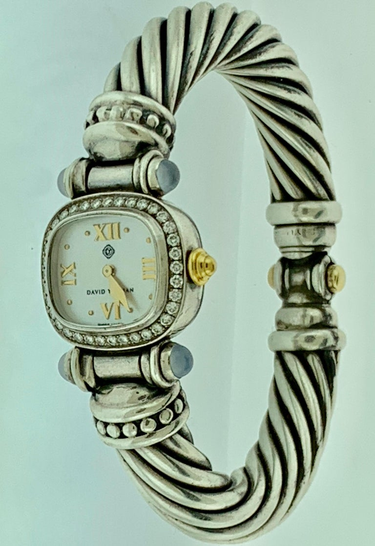 David Yurman Bezel Diamond Watch Cable Bracelet Sterling Silver 14 Karat Gold 1