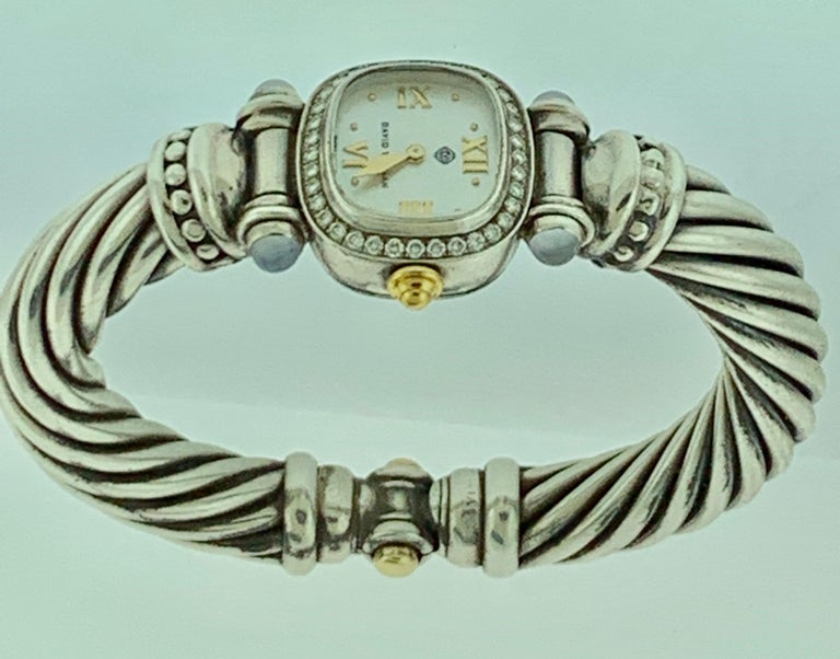 David Yurman Bezel Diamond Watch Cable Bracelet Sterling Silver 14 Karat Gold 2