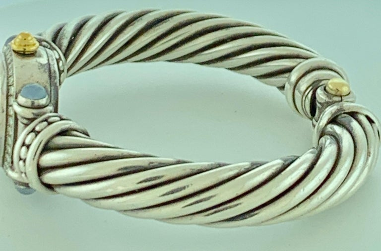 David Yurman Bezel Diamond Watch Cable Bracelet Sterling Silver 14 Karat Gold 3
