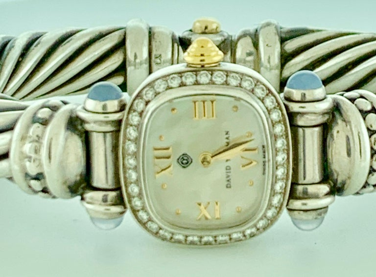 David Yurman Bezel Diamond Watch Cable Bracelet Sterling Silver 14 Karat Gold 4