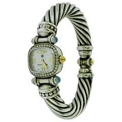 David Yurman Bezel Diamond Watch Cable Bracelet Sterling Silver 14 Karat Gold