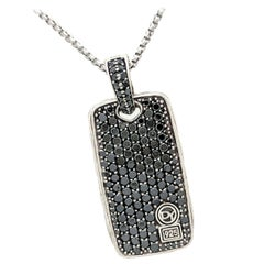 David Yurman Black Diamond Chevron Large Dog Tag Sterling Silver