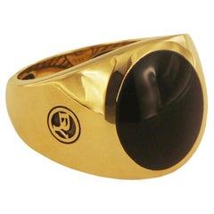 David Yurman Black Onyx Signet Men's Ring in 18 Karat Gold