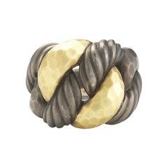 David Yurman Blackened Silver and 18 Karat Yellow Gold Hammered Chain Ring