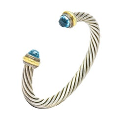 David Yurman Blue Topaz 14 Karat Gold Sterling Classic Cable Cuff Bracelet