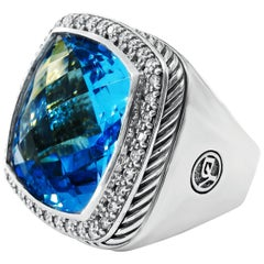 David Yurman Blue Topaz and Diamond Albion Ring