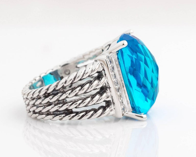 David Yurman Blue Topaz And Diamonds Sterling Silver