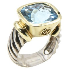 David Yurman Blue Topaz Gold and Sterling Silver Noblesse Ring with Cable Band