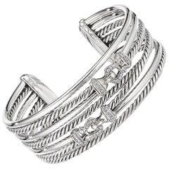 David Yurman Buckle Crossover Cuff Bracelet with Diamonds