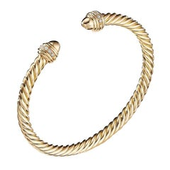 David Yurman Cable Bracelet in Gold with Gold Dome & Diamonds B14483D88AGGDI