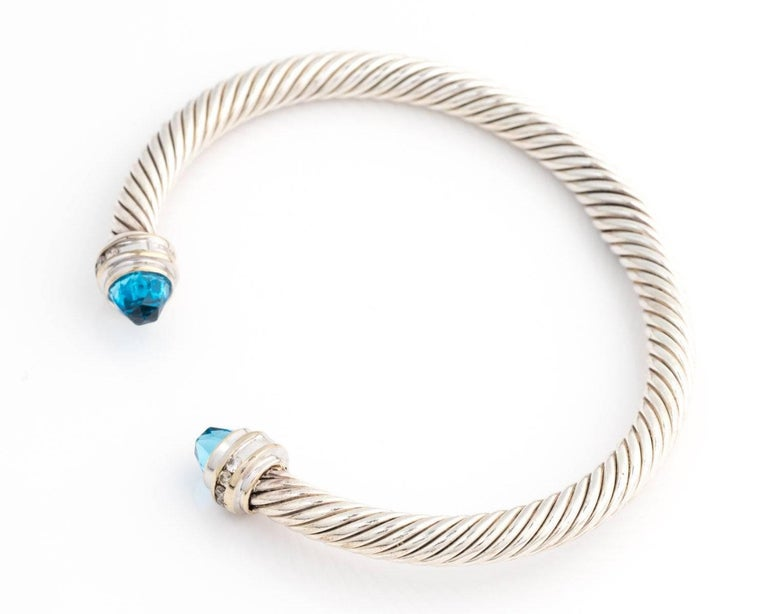 2000s David Yurman Cable Clics Bracelet With Blue Topaz Diamonds Sterling Silver 18