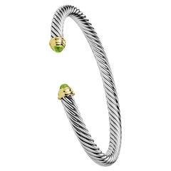 David Yurman Cable Classic Bracelet with Peridot and 14 Karat Gold