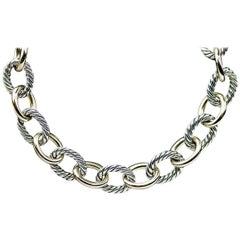 David Yurman Cable Classic Gold and Silver Medium Oval Link Chain Necklace