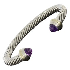 David Yurman Cable Classic Mixed Metals Specialty Amethyst Cuff Bracelets