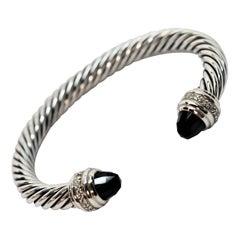 David Yurman Cable Classic Sterling Silver Bracelet w Onyx & Diamond Accents