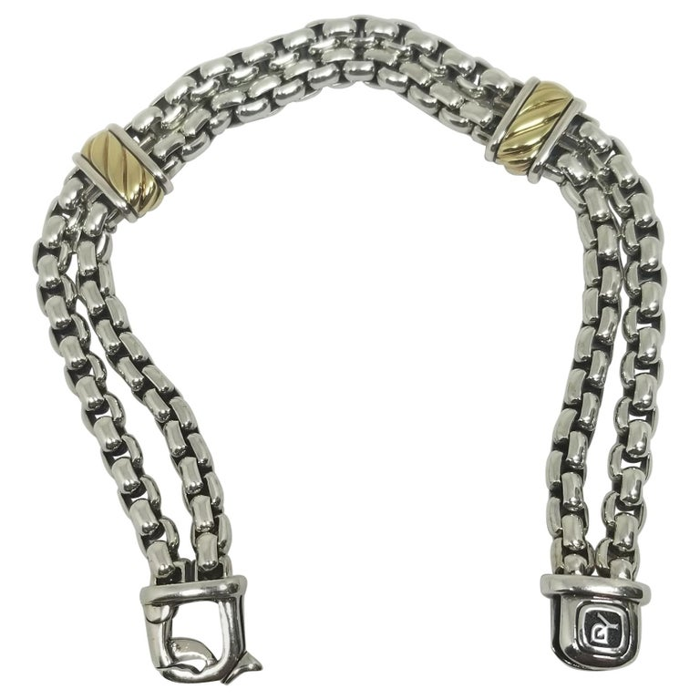 David Yurman Cable Classic Two-Row Chain Bracelet with 18 Karat Gold and Silver For Sale