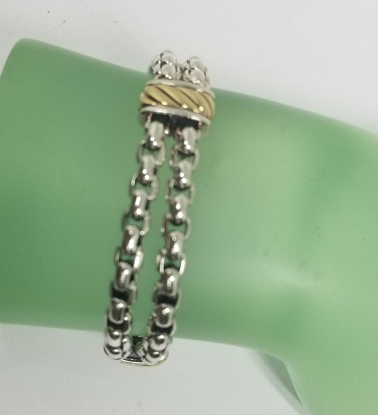 David Yurman Cable Classic Two-Row Chain Bracelet with 18 Karat Gold and Silver In Excellent Condition For Sale In Los Angeles, CA