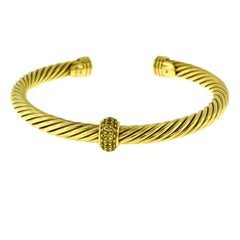 David Yurman Cable Classics Gold Cuff Bracelet with Pave Diamonds