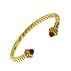 David Yurman Cable Classics Yellow Gold Citrine Diamond Cuff