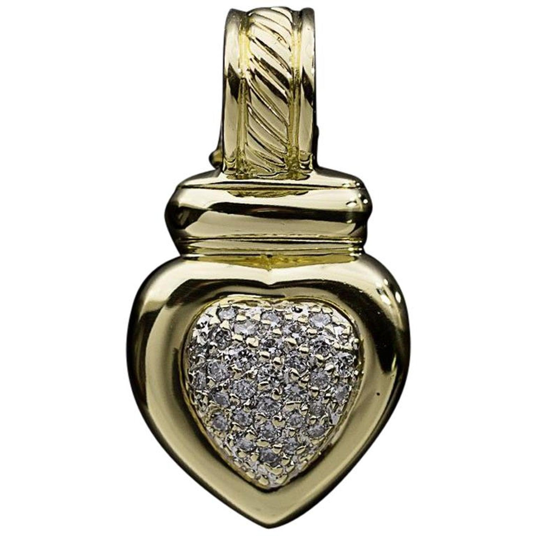 071765c7ab708f David Yurman Cable Classics Yellow Gold Pave Diamond Heart Pendant Enhancer  at 1stdibs