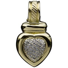 David Yurman Cable Classics Yellow Gold Pave Diamond Heart Pendant Enhancer