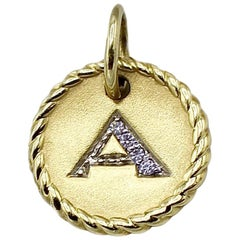 """David Yurman Cable Collectables 18K Gold Initial """"A"""" Diamond Disc Charm Pendant"""