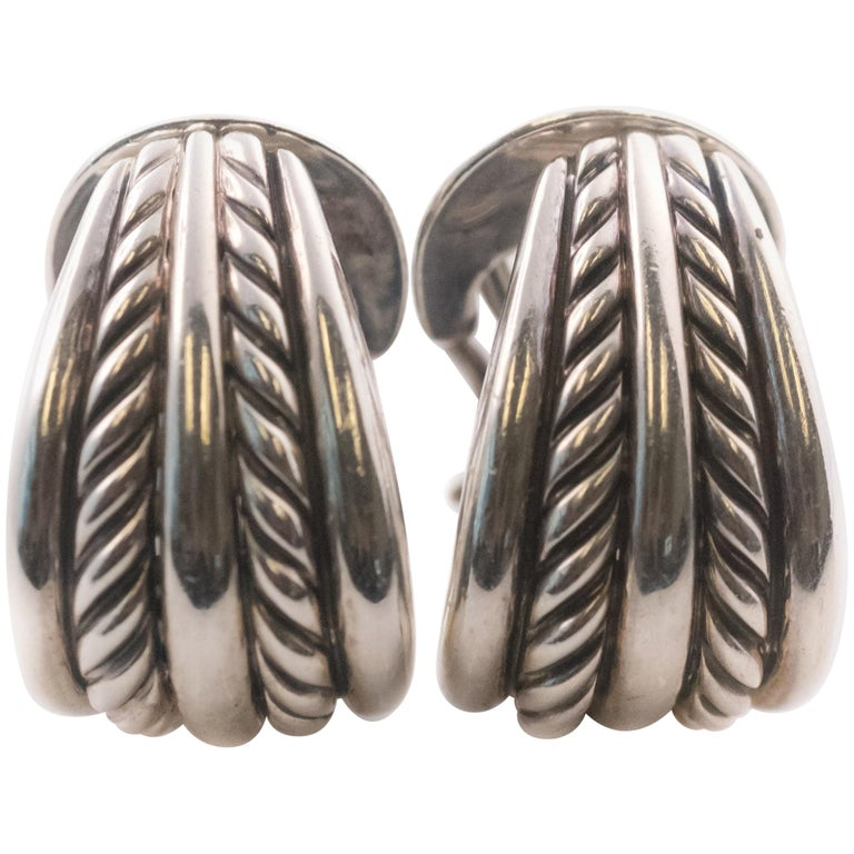 cb90ab039 David Yurman Cable Collectibles Sterling Silver Hoop Earrings For Sale