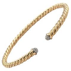 David Yurman Cable Collection Spira Diamond 18k Rose Gold Bracelet