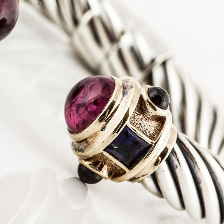 Mixed Cut David Yurman Cable Cuff Bracelet with Gemstones