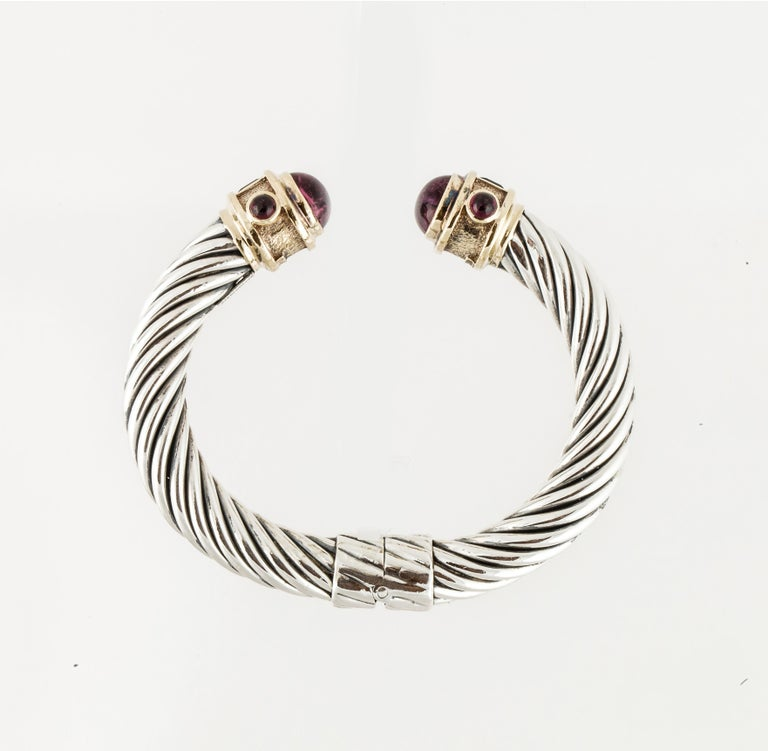David Yurman Cable Cuff Bracelet with Gemstones In Good Condition In Houston, TX