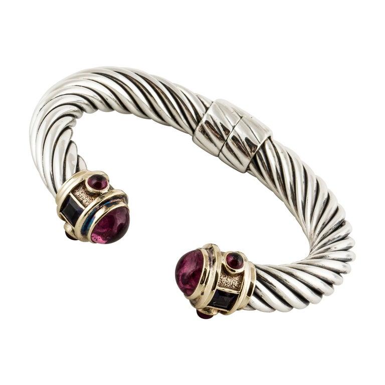 David Yurman Cable Cuff Bracelet with Gemstones
