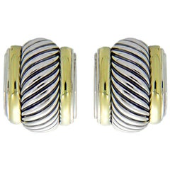 David Yurman Thoroughbred Cable Silver & Gold Cigar Band Earrings