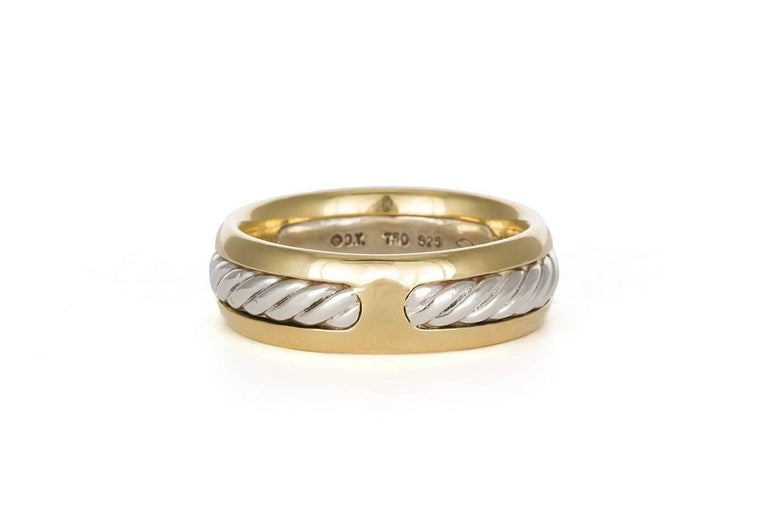 Women's or Men's David Yurman Cable Ring 18 Karat Gold and Sterling Silver Band For Sale