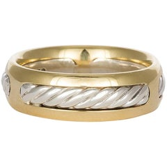 David Yurman Cable Ring 18 Karat Gold and Sterling Silver Band