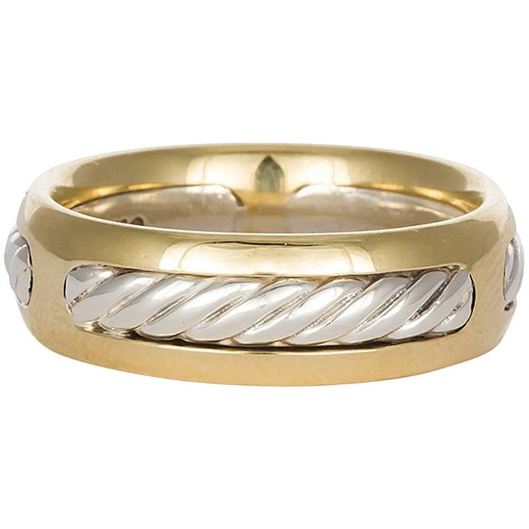 David Yurman Cable Ring 18 Karat Gold and Sterling Silver Band For Sale