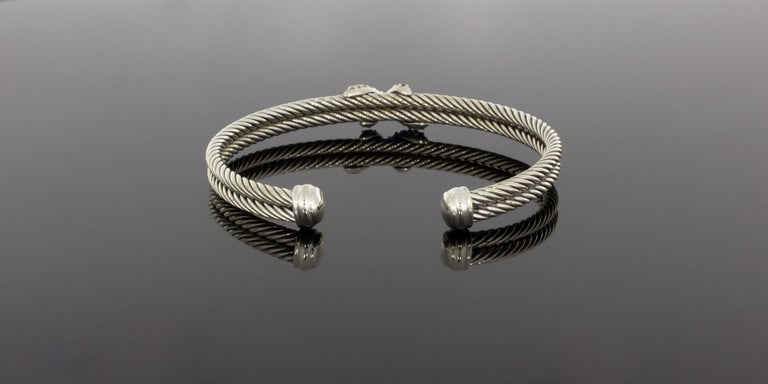 David Yurman Cable Sterling Silver 0.26 Carat Round Diamond Cuff Bracelets In Excellent Condition In Columbia, MO