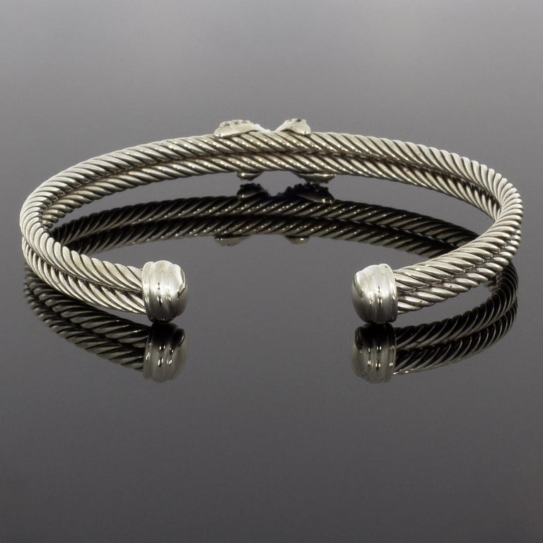 Women's David Yurman Cable Sterling Silver 0.26 Carat Round Diamond Cuff Bracelets
