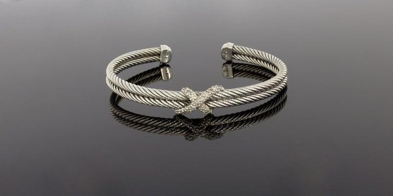 David Yurman Cable Sterling Silver 0.26 Carat Round Diamond Cuff Bracelets 1