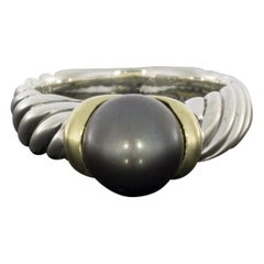 David Yurman Cable Sterling Silver Cultured Black Pearl Ring
