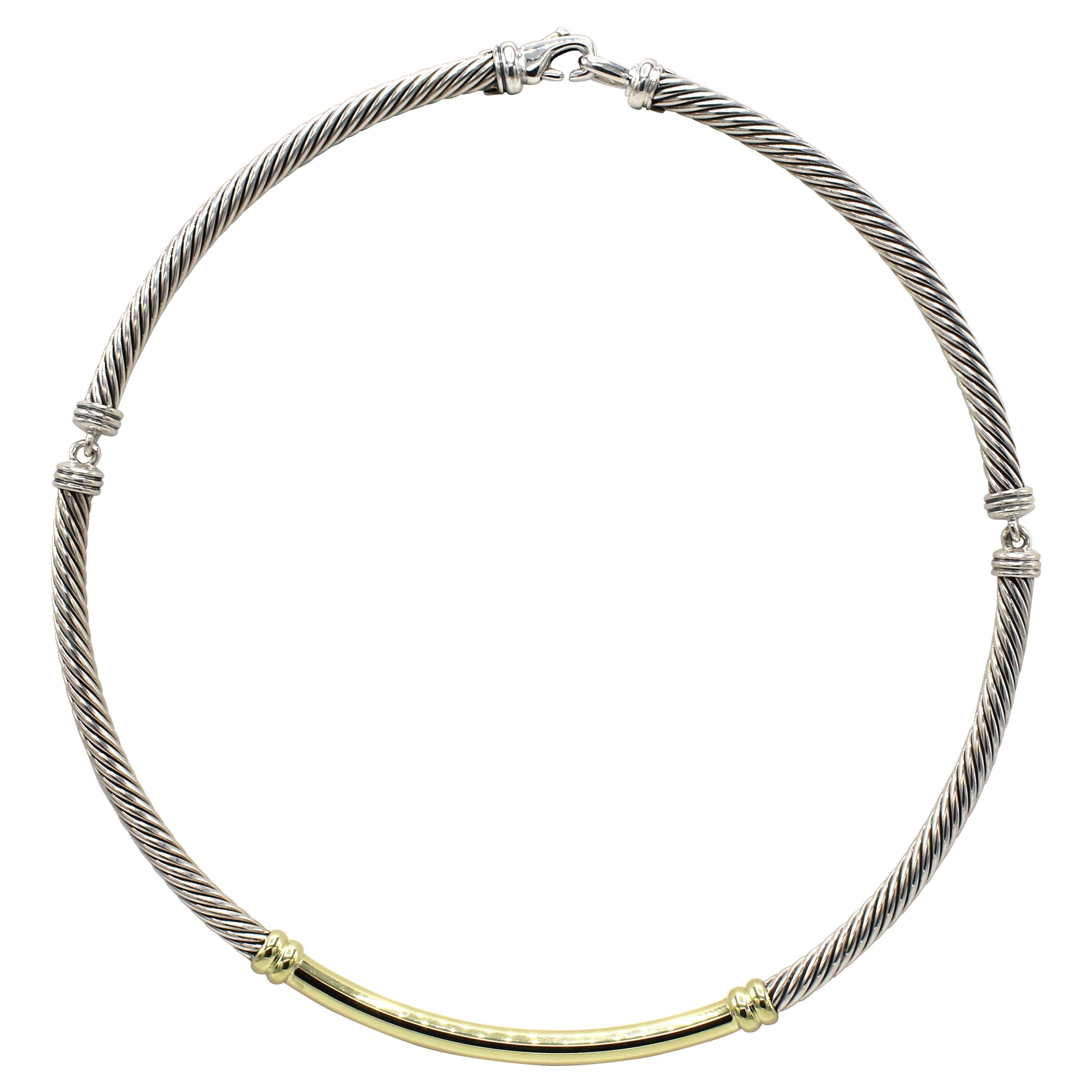 David Yurman Cable Sterling Silver & Gold Choker Necklace