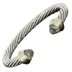 David Yurman Cable Sterling Silver Prasiolite Cuff Bracelets