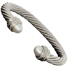 David Yurman Cable Sterling Silver Round Diamond Cuff Bracelet