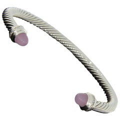 David Yurman Cable Sterling Silver Round Rose Quartz and Diamond Cuff Bracelets
