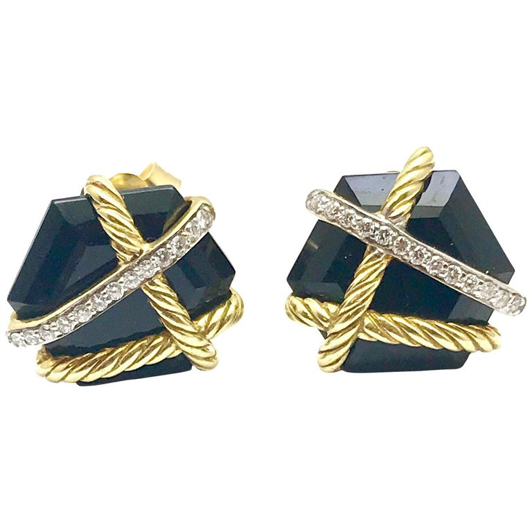 0d7d47cd38d1e David Yurman Cable Wrap Earrings with Black Onyx and Diamonds in 18 Karat  Gold