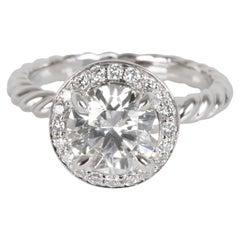 David Yurman Capri Halo Diamond Engagement Ring in Platinum GIA H VS1 1.30 Carat